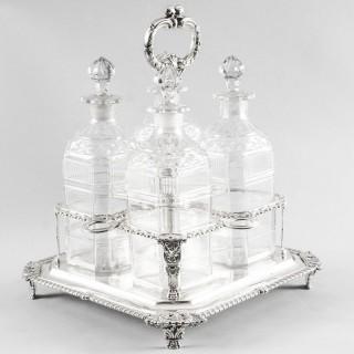 Antique English Regency Silver Four Bottle Tantalus Paul Storr 1818