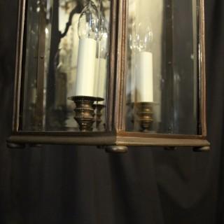 French Large Bronze Triple Light Antique Lantern