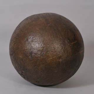Antique Treen 19th Century Large Hard Wood Bowling Ball