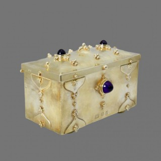 An exceptional silver gilt and amethyst set casket