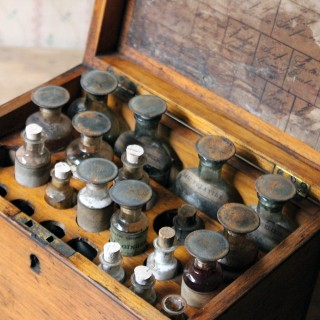 A Mid 19thC British Oak Apothecary Chest; c.1858-1875; formerly P.J. Dewar, Chemist & Dentist, Dingwall, Scotland