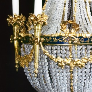 A Louis XVI Style Tent and Frame Chandelier with Blue Enamelled Galleries