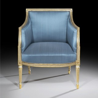 Fine George III Cream Painted and Parcel Gilt Armchair