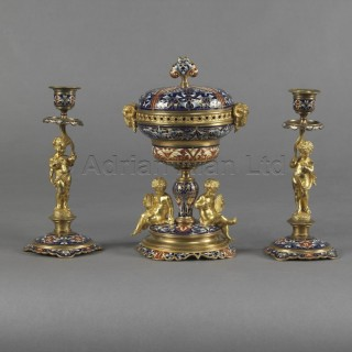 A Fine Gilt-Bronze and Champlevé Enamel Garniture Set