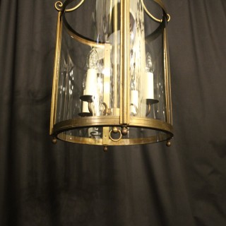 French Large Brass 4 Light Antique Lantern