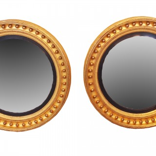 Antique Regency Large Pair Of Convex Mirrors