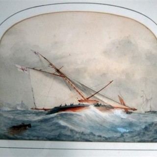 Pair of watercolours of Royal Yacht Squadron gaff rigged cutter (England, 1880)