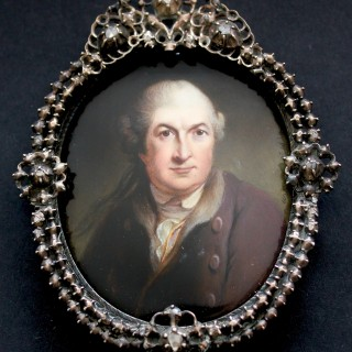 19th Century portrait miniature of  David Garrick (1717-1779), painted in enamel after Robert Edge Pine