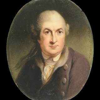19th Century portrait miniature of  David Garrick (1717-1779), painted in enamel after Robert Edge Pine
