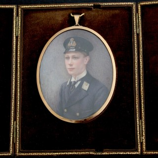 Portrait miniature, over painted photograph of  H.R.H. Prince Albert  Duke of York , later King George VI, (1895-1952) Artist Signing A.S, circa 1915
