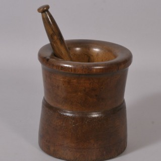 Antique Treen 18th Century Fruitwood Pestle and Mortar