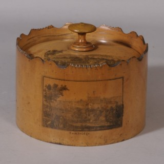 Antique Treen 19th Century Mauchline Ware Sycamore Spice Box