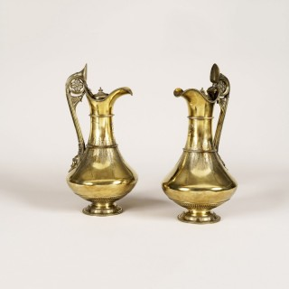A Pair of London Hall Marked Silver Gilt Lidded Ewers by George Fox