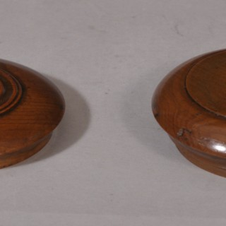 Antique Treen 19th Century Yew Wood Pocket Snuff Box