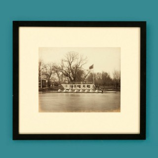 Framed albumen print of rowers