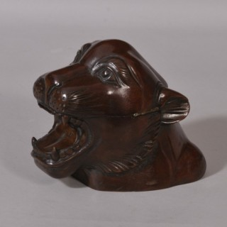 Antique Treen 19th Century Mahogany Jaguar's Head Table Snuff Box