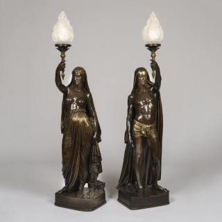 A Pair of Porte-Lumières of Indians, Cast by Barbedienne from the celebrated Armand Toussaint Models