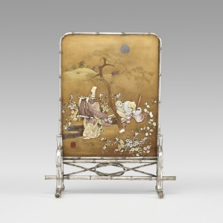 Japanese gold lacquer and Shibayama table screen