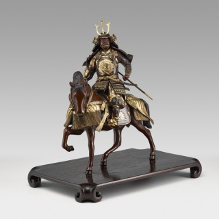 Japanese bronze Samurai warrior on horseback