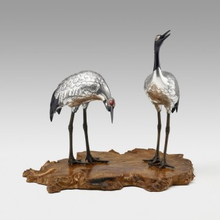 Japanese silvered bronze pair of Manchurian cranes