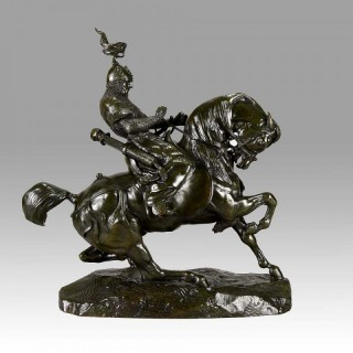 Animalier bronze 'Guerrier Tartare Arrêtant son Cheval' by Antoine Barye