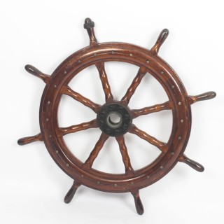 Antique Eight Spoke 90cm diam Mahogany Ships Wheel, 19th Century