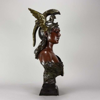 Art Nouveau Bronze Bust entitled 'Walkyrie' by Emmanuel Villanis