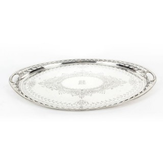 Antique Victorian Oval Silver Plated Tray by Elkington 19th C