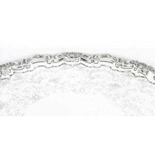 Antique Large Victorian Silver Plated Twin Handled Tray C 1910