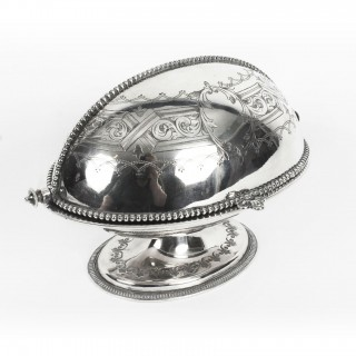 Antique English Silver Plated Roll Over Butter Dish 19th Century
