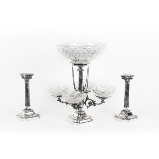 Antique Silver Plated Pair Candlesticks & Centrepiece 5 Cut Glass Bowls 19th C