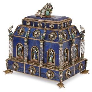 Renaissance style lapis lazuli, Viennese enamel, silver and gemstone casket