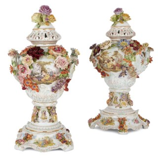 Pair of antique floral Dresden porcelain vases