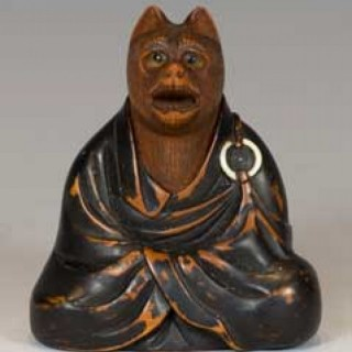 FINELY CARVED JAPANESE EDO PERIOD BOXWOOD NETSUKE FOX PRIEST