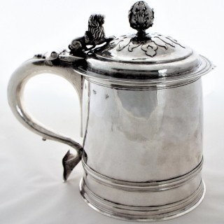 Very rare Charles II silver 3 pint lidded tankard London 1682 by Robert Cooper