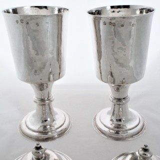 Very rare pair large Charles II silver chalices London 1675 by William Grant