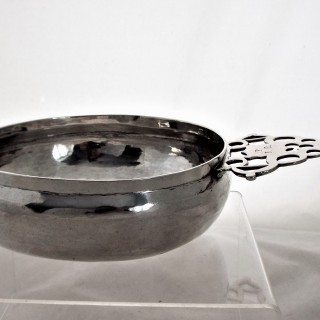Fine and large William & Mary silver bleeding bowl London 1692 by JS