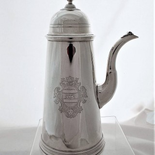 Superb Queen Anne Britannia silver side handled coffee pot London 1711 John Leach