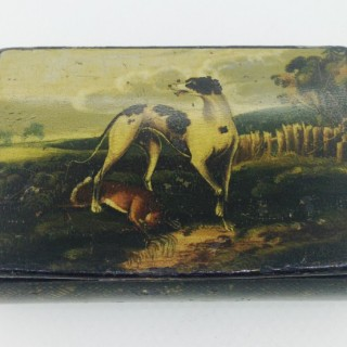 Mauchlin ware Greyhound Snuff Box
