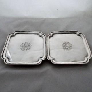 Good quality pair of square George I silver salvers London 1726 Edward Cornock