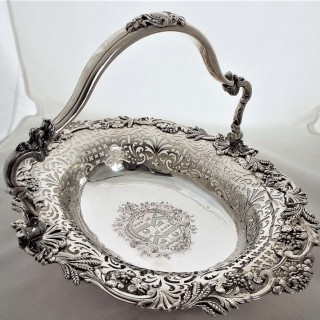 Magnificent armorial George II silver swing handled basket London 1748 S.H.Herbert&Co