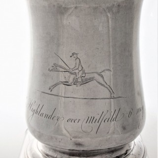Rare provincial good quality George II silver racing tankard Newcastle 1759 James Kirkup