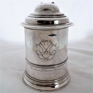 Good George II silver lidded tankard London 1737 Thomas Whipham