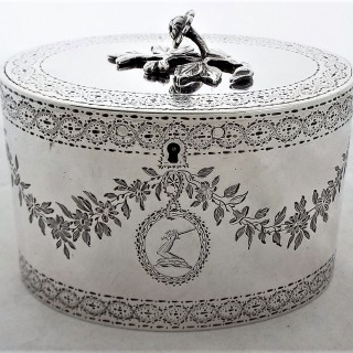 Quality crested & engraved early George III silver tea caddy London 1776 John Carter