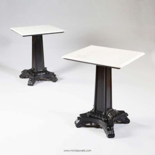 PAIR OF EBONISED PEDESTAL END TABLES