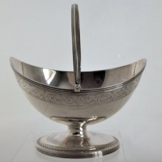 Very rare George III silver swing handle basket London 1790 Peter & Jonathan Bateman