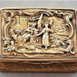 Good cast George III silver gilt snuff box London 1809 C.J.Buckler