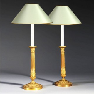 PAIR OF FRENCH EMPIRE GILT BRONZE CANDLESTICK LAMPS