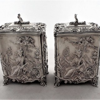 Super quality pair Chinoiserie tea caddies London 1861 George Fox 25 ounces.