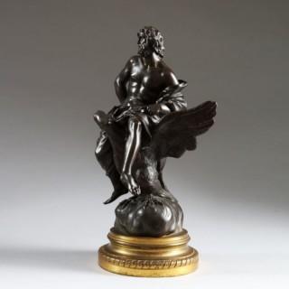 19TH CENTURY BRONZE STATUE OF ZEUS RIDING AN EAGLE